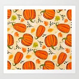 Pumpkins pattern I Art Print