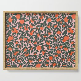 Oranges and Leaves Pattern - Pink Serving Tray