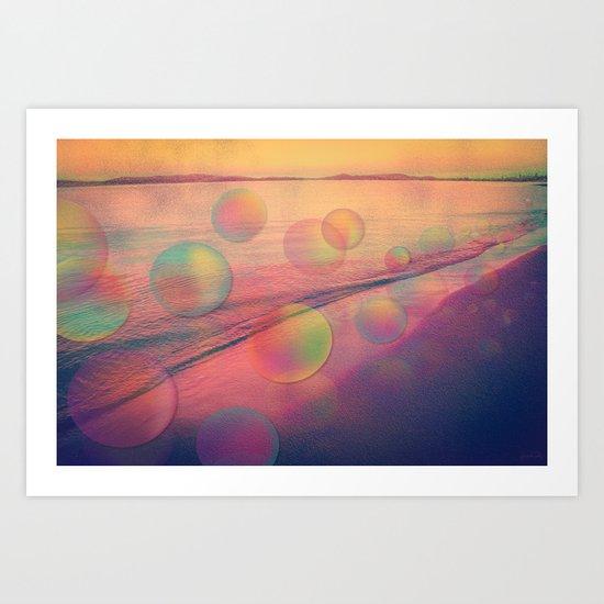Colorful Summer Dream (California Beach in Rainbow Colors) Art Print