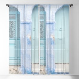 Doors - Chefchaouen VI - The Blue City, Morocco Sheer Curtain