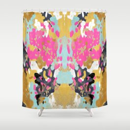 Laurel - Abstract painting in a free style with bold colors gold, navy, pink, blush, white, turquois Shower Curtain