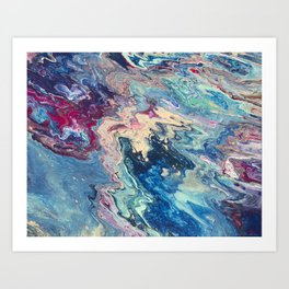 Blue swirl pour painting, Bohemian Style painting Art Print
