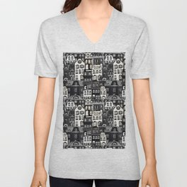 Mansard Village in Black + White Watercolor Unisex V-Neck