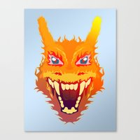 charizard Canvas Prints featuring Flaming Dragon by Head Glitch