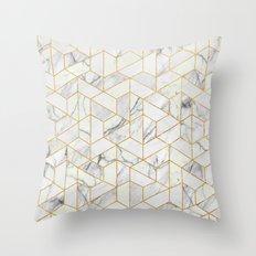 Marble hexagonal pattern Throw Pillow