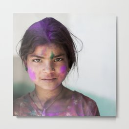 Holi Girl Metal Print