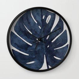 Monstera Leaf Navy Indigo Blue Botanical Tropical Watercolor Painting Art Print Wall Decor  Wall Clock
