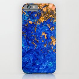 Artsy Cobalt Blue Golden Yellow Acrylic Painting iPhone Case