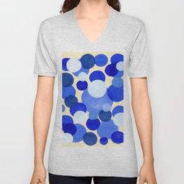 Colorful Blue White Watercolor Bubbles Unisex V-Neck