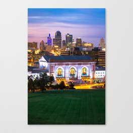 Kansas City Skyline with Union Station in Color Canvas Print