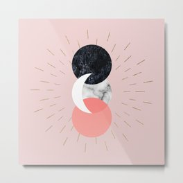 Moon and Sun on Pink and Marble Geometry #abstractart Metal Print