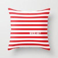 waldo Throw Pillows featuring Self Aware Waldo by Emily Young Design