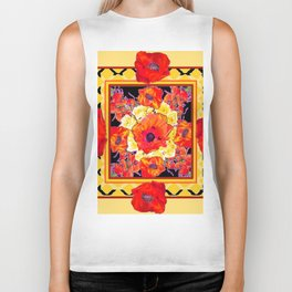 RED POPPIES DECORATIVE FLORAL ABSTRACT Biker Tank