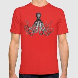 Antique Nautical Steampunk Octopus Vintage Victorian Kraken sea monster emo goth drawing T-shirt