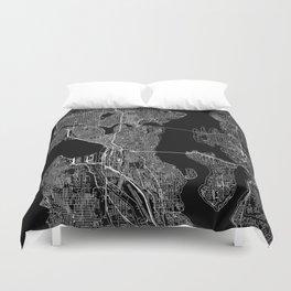 Seattle Black Map Duvet Cover