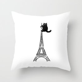 Eiffel Tower Cat Throw Pillow