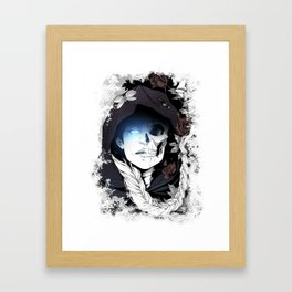Watcher on the Bridge, witch illustration with skull and roses Framed Art Print