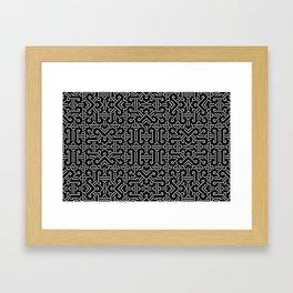 Black and White Ethnic Sharp Geometric  Framed Art Print
