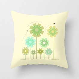 Blooming Flowers and Honey Bees Throw Pillow
