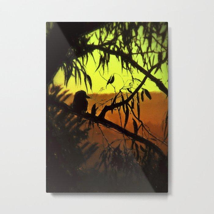 Kookaburra Silhouette Sunset Metal Print