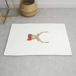 Awesome Christmas Reindeer with Cool Glasses Rug