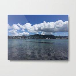 Wellington Harbour Fountain Metal Print