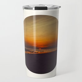 Mid Century Modern Round Circle Photo Graphic Design Orange Sunset Above Beach Travel Mug