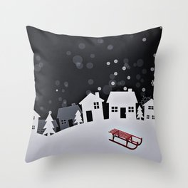 RED SLED Throw Pillow