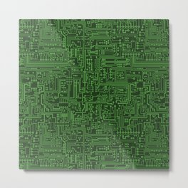 Circuit Board // Light on Dark Green Metal Print