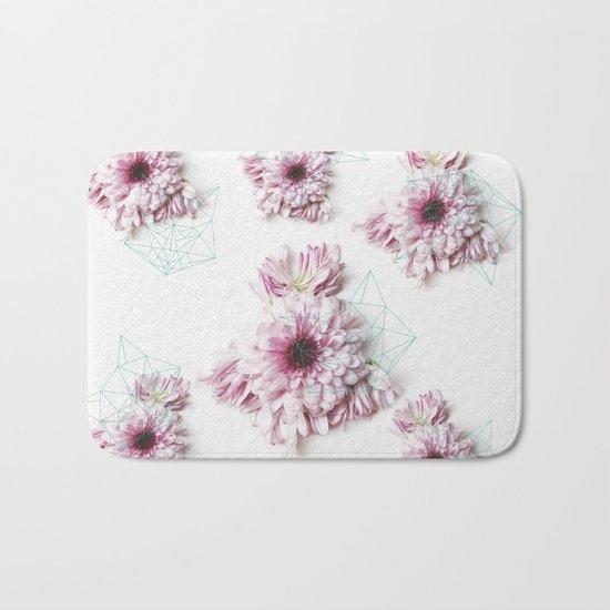 Geometry pastel flowers Bath Mat