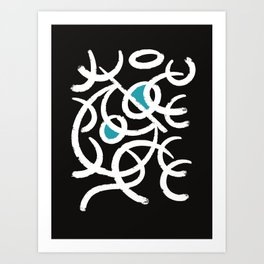 Abstract African Tribal White Lines and Blue Circles in the Black Night  Art Print