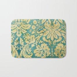 Vintage Antique Green and Gold Pattern Wallpaper Bath Mat