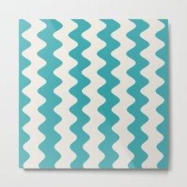 Teal Turquoise Aqua and Alabaster White Wavy Vertical Rippled Stripe Pattern - Aquarium SW 6767 Metal Print