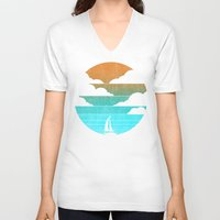 sail V-neck T-shirts featuring Go West (sail away in my boat) by Picomodi