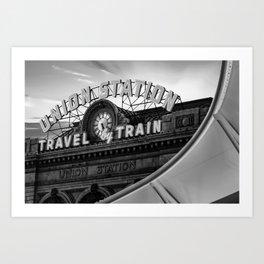 Union Station Travel by Train - Denver Colorado Monochrome Art Print