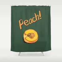 peach Shower Curtains featuring Peach by Ken Coleman