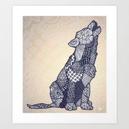 Zentangle Wolf Cub (Update) Art Print