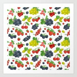 Colorful Berries Pattern Art Print