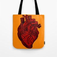 anatomical heart Tote Bags featuring Anatomical Love by Orange Blood Gallery