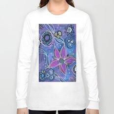 Purple Flowers Background Long Sleeve T-shirt
