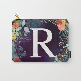 Personalized Monogram Initial Letter R Floral Wreath Artwork Carry-All Pouch