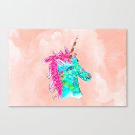 Unicorn on Peach watercolour Canvas Print