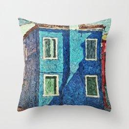 Burano blue house Throw Pillow