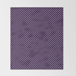 Royal Lilac and Black Polka Dots Throw Blanket