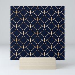 Abstract gold lines and segment circles pattern  Mini Art Print