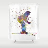 skiing Shower Curtains featuring woman skier skiing by Paulrommer