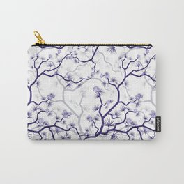 Abstract navy blue gray lavender floral illustration Carry-All Pouch