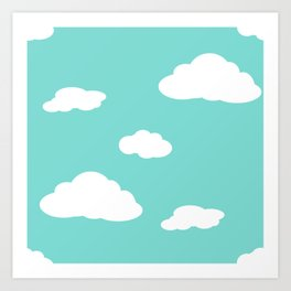 Paper Airplanes - You Can Fly - Cloud Variation - Caribbean Art Print