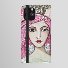 Believe in Your Own Magic Mixed Media Fairy Girl iPhone Wallet Case