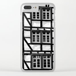 Black and white medieval street scene Clear iPhone Case